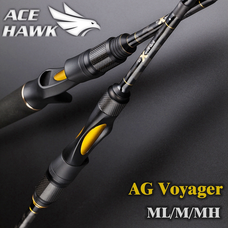 ACE HAWK AG voyager spinning baitcasting fishing rod 4 sections carbon fishing rod