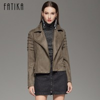 FATIKA 2017 Women Casual Suede Leather Jacket Outwear Turn Down Collar Punk Style Lady Flying Motorcycle