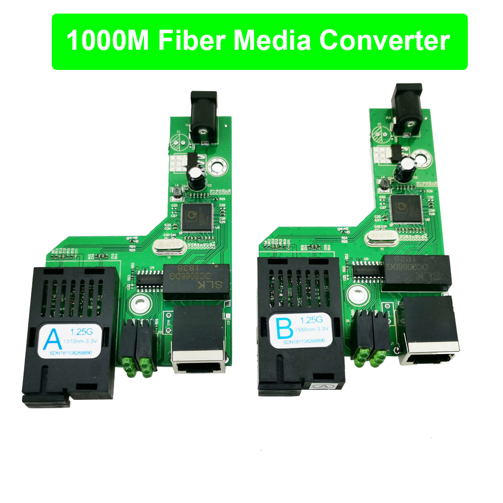 FTTH 1 Pair Gigabit Fiber Optical Media Converter 10/100/1000Mbps Single Mode Single Fiber SC Port 20KM PCBA With Power Adapter