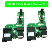 FTTH 1 пара гигабитные волоконно-оптический медиа конвертер 10/100/1000 Мбит/с однорежимный одинарный волоконно SC Порты и разъёмы 20 км печатная плата с Мощность адаптер