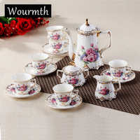 Wourmth 15 Pcs Fashion Classic Bone China Coffee Tea Set Royal Ceramic Gift Box Set 1