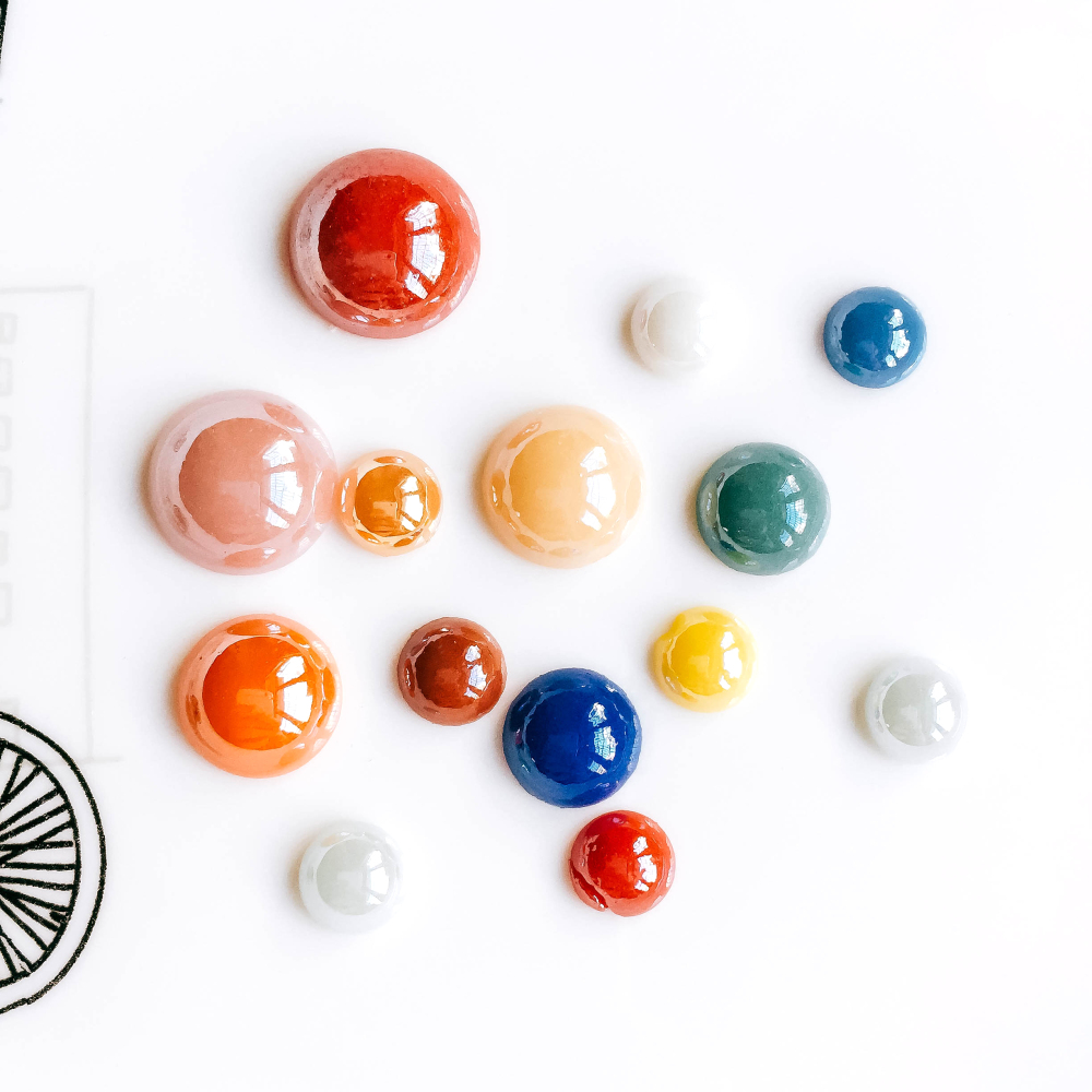 ZEROUP Mixed Colors Ceramics Porcelain Glass Cabochons 8/10/12/14/16mm Cameo Flat Back Cabochon Supplies For DIY Jewelry Finding