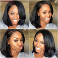 7A Brasileiro Barato Perucas de Cabelo Humano Curtos Para As Mulheres Negras Yaki reta Cheia Do Laço Perucas de Cabelo Humano Lace Front Wigs Com Bebê cabelo