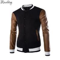 New Brand Leather Sleeve Splice Fleece Hoodies Men Autumn Winter Single Breasted Men S Baseball Uniform