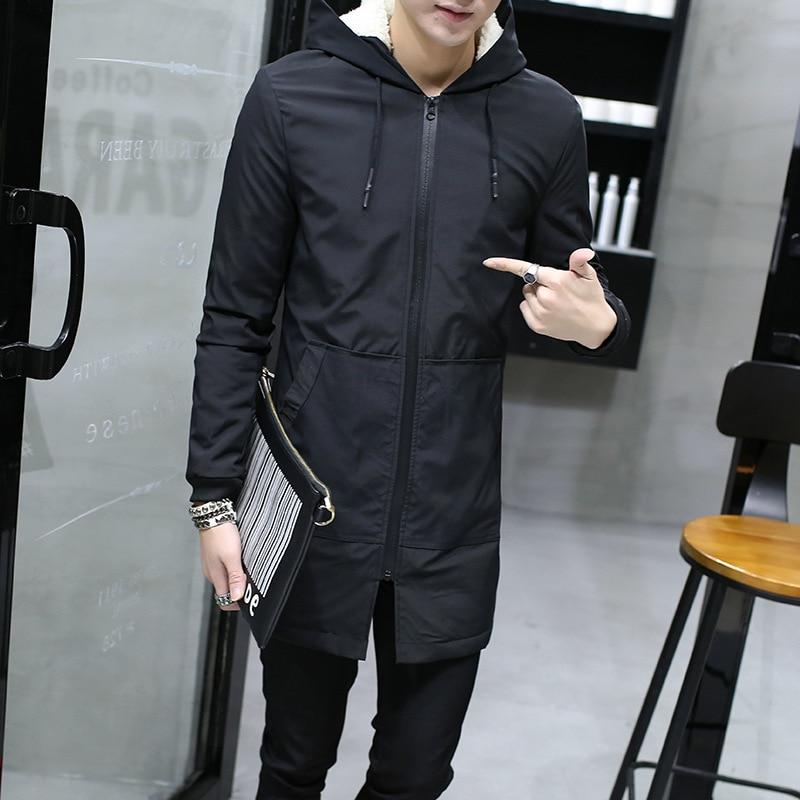 Warm Winter Jacket men hooded Slim Korean   Parka   Hombre long Jacket coat cashmere mens windbreaker   Parkas   cotton youth clothing
