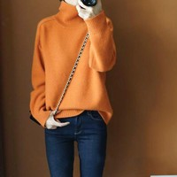 Gejas Ainyu Autumn Winter new women sweaters fashion 2018 women turtleneck cashmere sweater women knitted pullovers plus size
