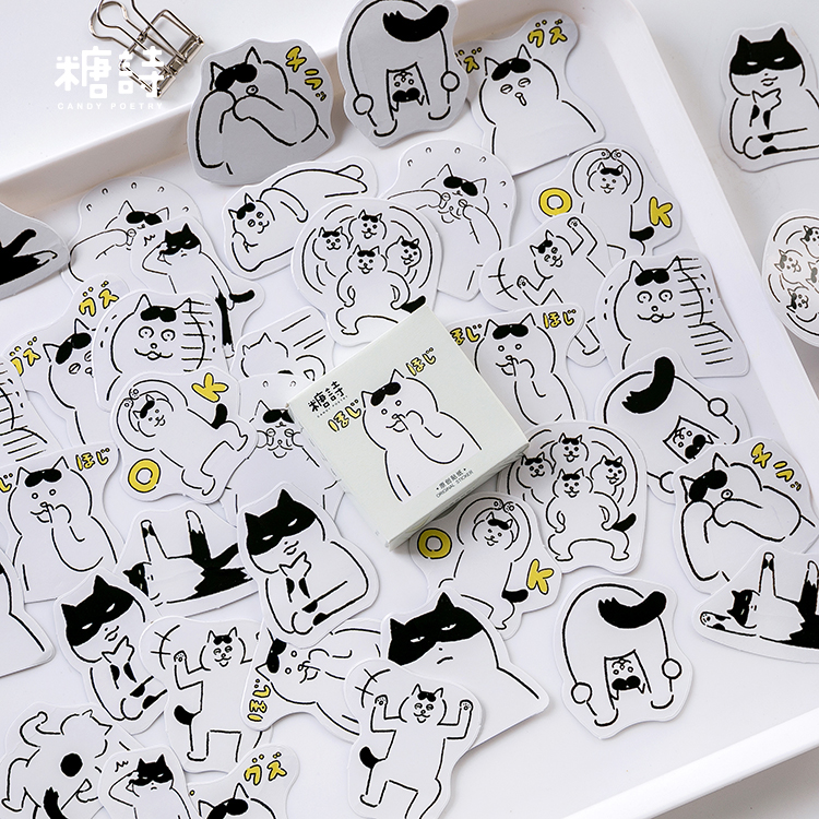45pc\DIY Cat Stickers Cute Interesting Creative Aesthetic Sticker Album Diary Album Sticker Student Handmade Stationery Supplies