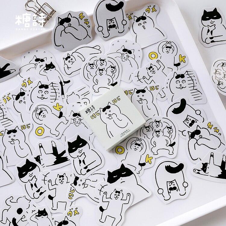 45pc\DIY Cat Stickers Cute Interesting Creative Aesthetic Sticker Album Diary Album Sticker Student Handmade Stationery Supplies