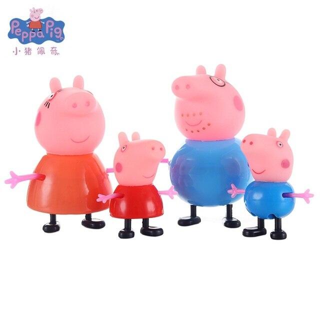 4 peças/set de menina porco cor de rosa George porco da guiné vestido família mãe e meu pai Pelucia anime brinquedo figura de ação original o melhor presente