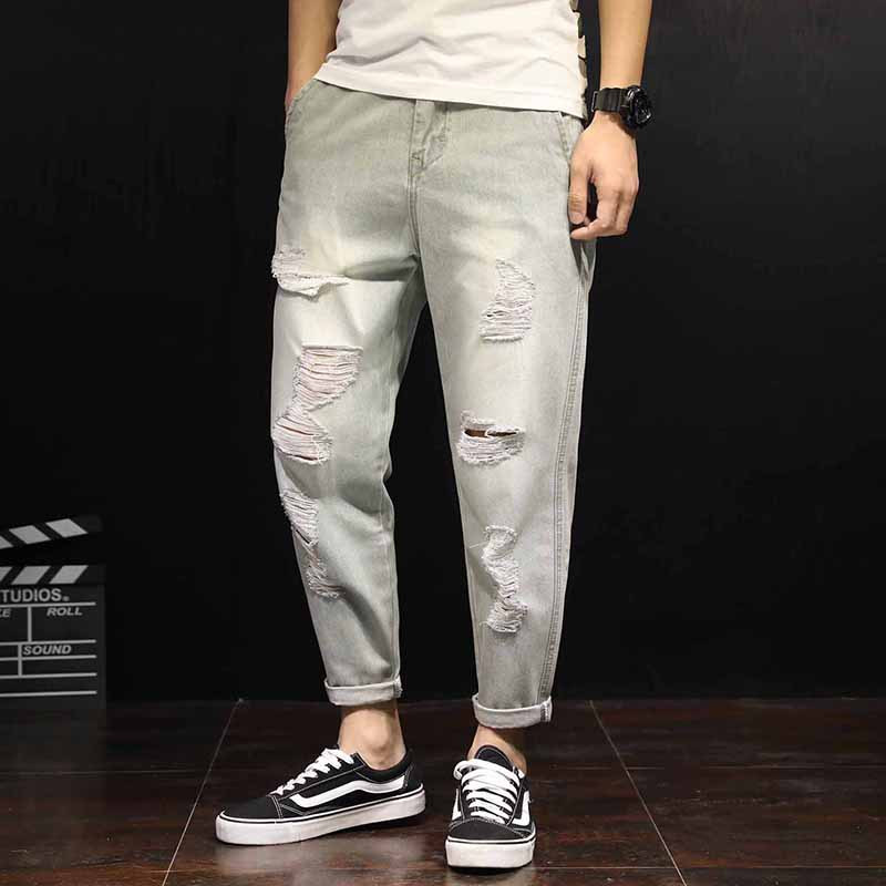 2018 Spring Summer Light Color Holes Jeans Trendy Solid Casual Washed Ripped Harem Pants Homme Bottom Denim Trousers Large Size