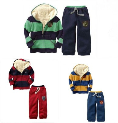 Free Shipping Baby boys Winter thicker Long sleeved Striped hooded jacket casual pantsuits top pants set