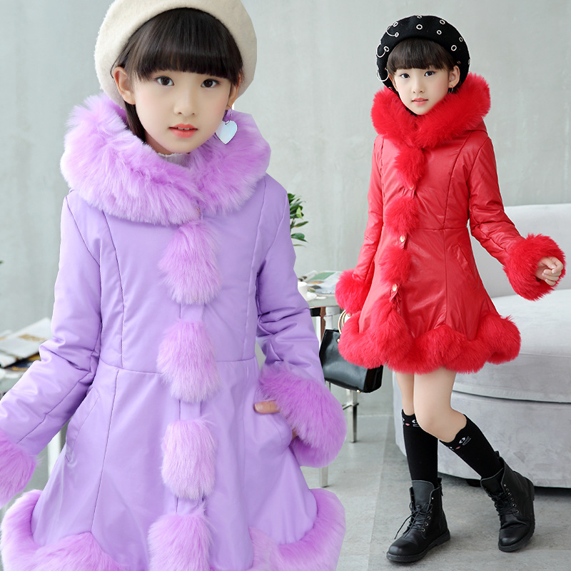 Girls Down Coat 2018 New Fashion Children's Winter Jackets Girl's Cotton Down Padded Coats Big Girl Thickening Outerwear Jackets kids down coats and jackets 2017 new winter cotton padded jacket medium long thickening cotton padded winter girl winter coat