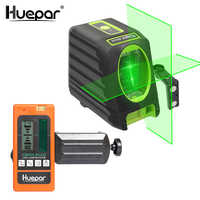 Huepar Self-leveling Vertical & Horizontal Lasers Green Beam Cross Line Laser Level 150 Degree+Huepar Digital LCD Laser Receiver