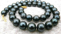 HOT Wholesale Price 9 10mm Black Tahitian Cultured Pearl Necklace 18 AAA