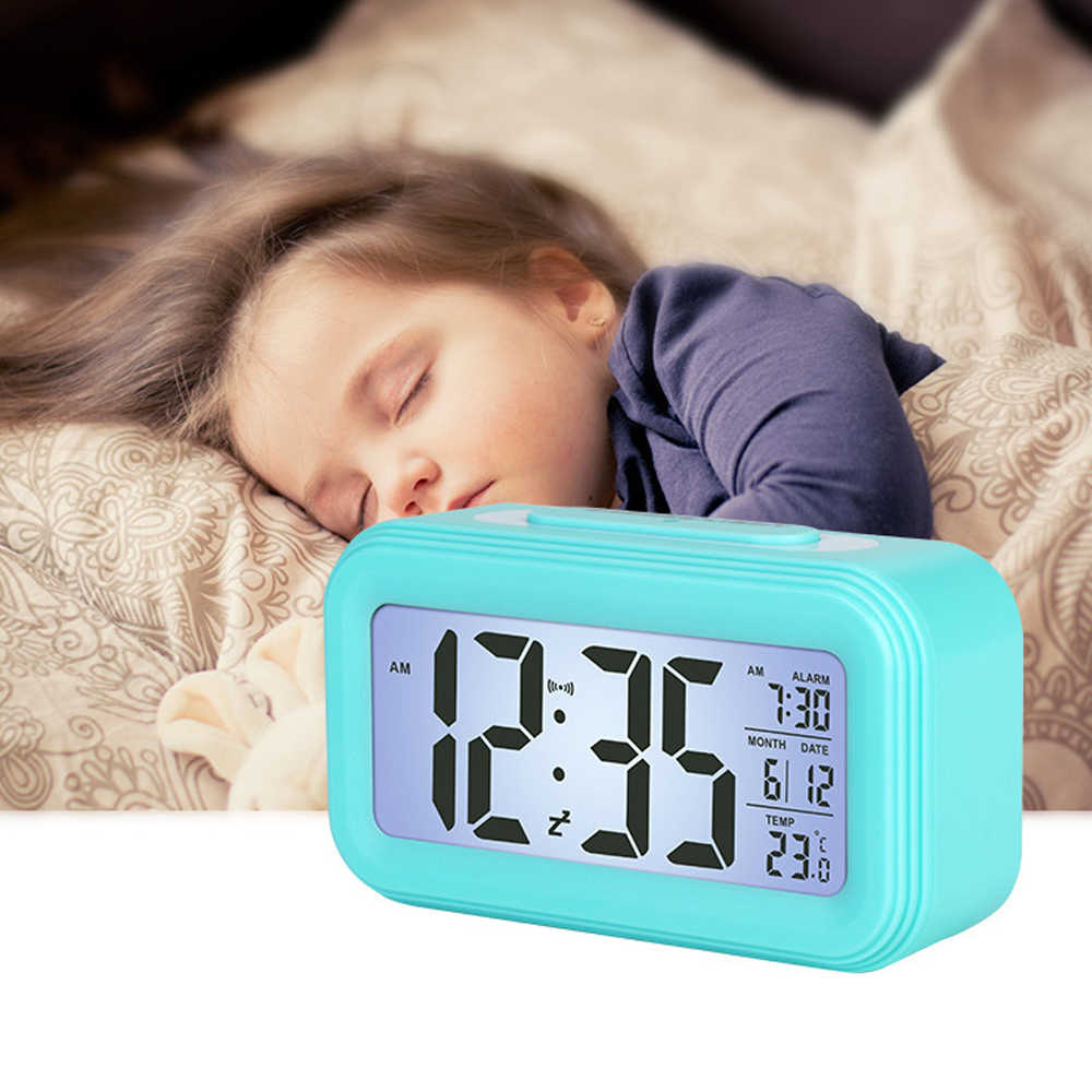 LED Digital Alarm Clock Electronic Smart Clocks Temperature & Calendar Snooze Function Alarm Clock Home Table Backlight Display