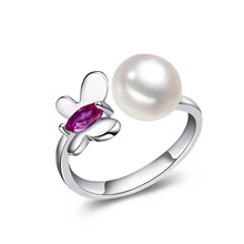 2016 Fashion Pearl Ring Jewelry Of Silver Butterfly Ring Freshwater Pearl Wedding Rings 925 Sterling Silver Rings For Women
