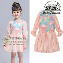 New Arrival Fashion Girls Flower Lace Princess Dress 2016 New Spring Summer Brand Baby Girls Party Dress Kids Clothes