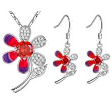 Platinum plated suit 925 Sterling Silver Earrings Necklace Set Diamond Flower Color customized wholesale a suit of graceful solid color flower necklace and earrings for women