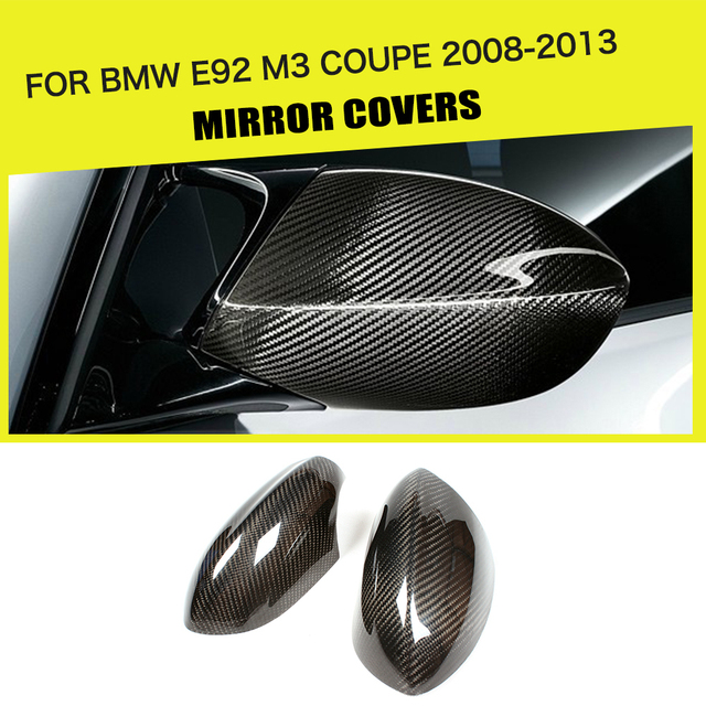 Add on Style Car Rear Review Mirror Cover Caps DRY Carbon Trims for BMW 3 Series E92 M3 Coupe 2008 - 2013