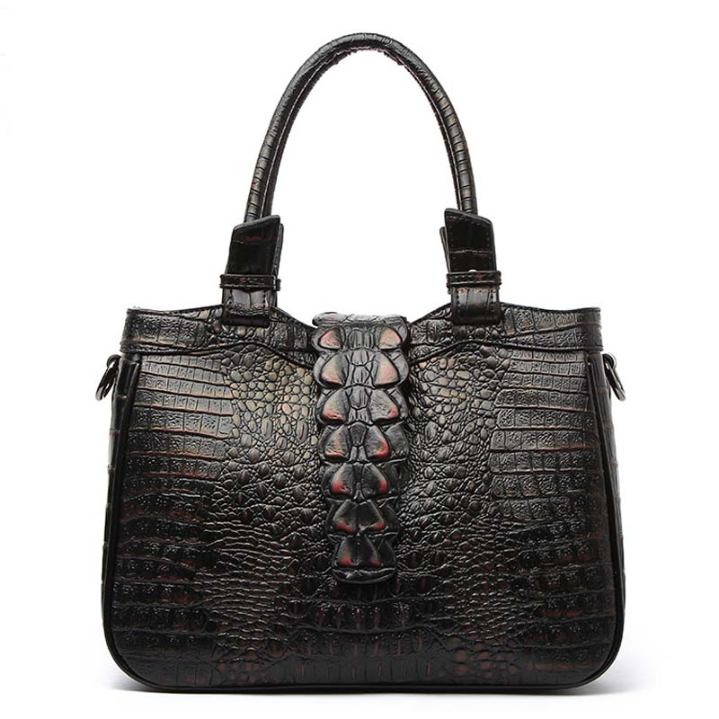 2017 Famous Brand Women Bag Genuine Leather Handbags Luxury Designer Ladies Crocodile Shoulder Bag Hign Quality Casual Totes Bag genuine leather bag ladies 2017 crocodile pattern messenger luxury handbags women famous brand designer alligator fashion