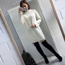 Autumn Winter Solid Knitted Cotton Sweater Dresses Women Fas