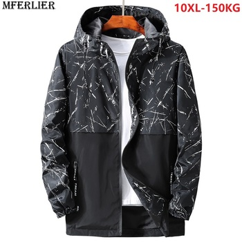 men trench hooded hipster letter camouflage autumn large size big jacket 6XL 7XL 8XL 9XL 10XL casual Windbreaker jackets black