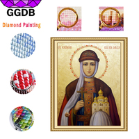 GGDB 5D DIY Diamond Painting Madonna With Castle Religions Full Embroidery Mosaic Resin Square Diamond Europe