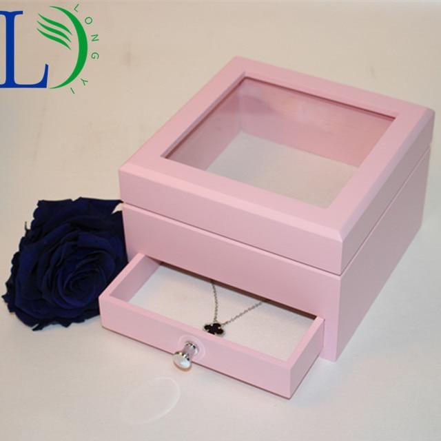 Multi Function Wooden Storage Box Jewelry Container Flower Organizer