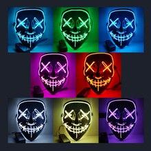 Дропшиппинг Хэллоуин маска светодиодный свет Вечерние Маски светятся в темноте продувки год выборов Забавные Маски фестиваль Косплэй костюм