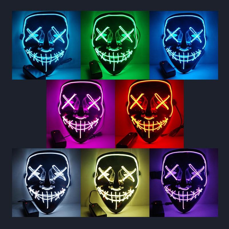 Dropshipping máscara de Halloween luces LED para fiesta máscaras brillan en la purga oscura año de elección máscaras divertidas Festival Cosplay disfraz