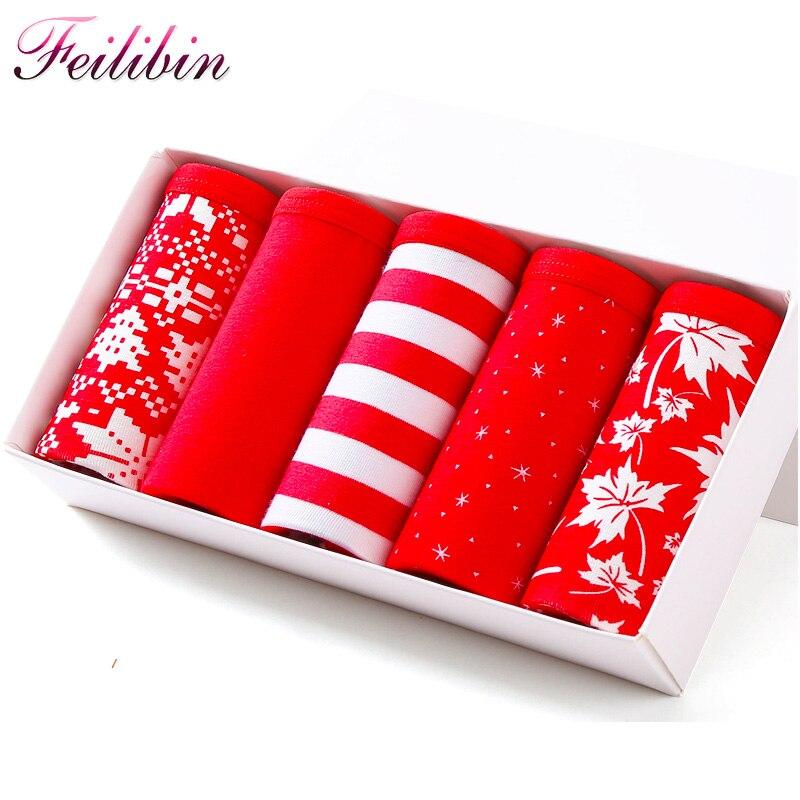 Feilibin Sexy Cotton Women   Panties   5Pcs/lot Comfortable Lucky Red Seamless Girls Lovely Briefs Soft Breathable Women Underwear