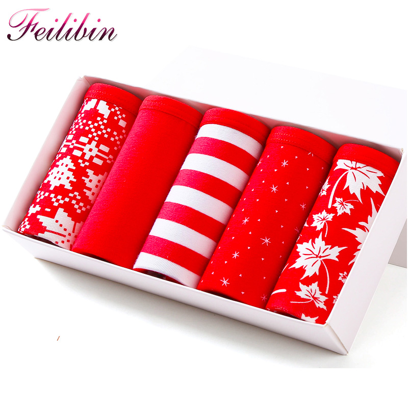 Feilibin Sexy Cotton Women   Panties   5pcs/lot Traceless Lucky Red Seamless Girls Lovely Briefs Breathable Women Underwear