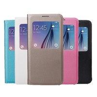 Luxury Sheepskin View Windows Leather Case For Samsung Galaxy S6 G920 G920A G920F G920FD G920I G9208