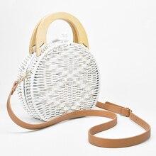 2019 Women fashion Wooden Handle Rattan Knit Bag Camel white New Straw Bag Shoulder Messenger bags