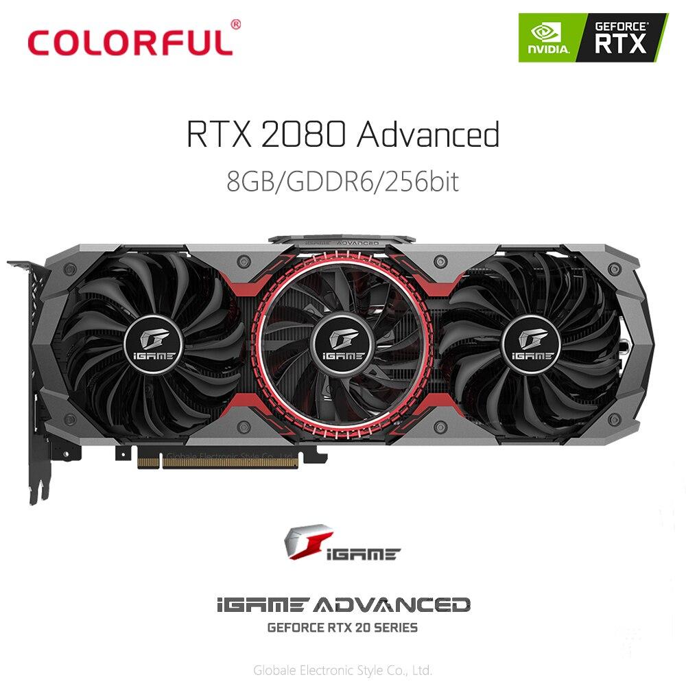Original coloré iGame GeForce RTX 2080 avancé 8 GB carte graphique vidéo GDDR6 VR Gaming 1710 MHz DP HDMI USB type C