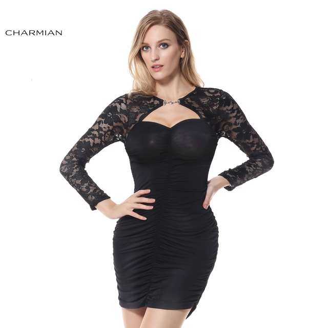 Charmian Black Dress With Lace Long Sleeves Bolero Bodycon Cocktail