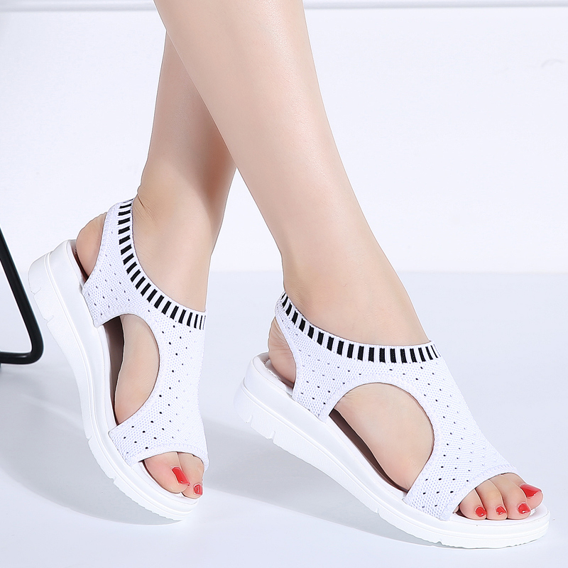 White Sandal Shoes Wedge Black Comfort Breathable Fashion