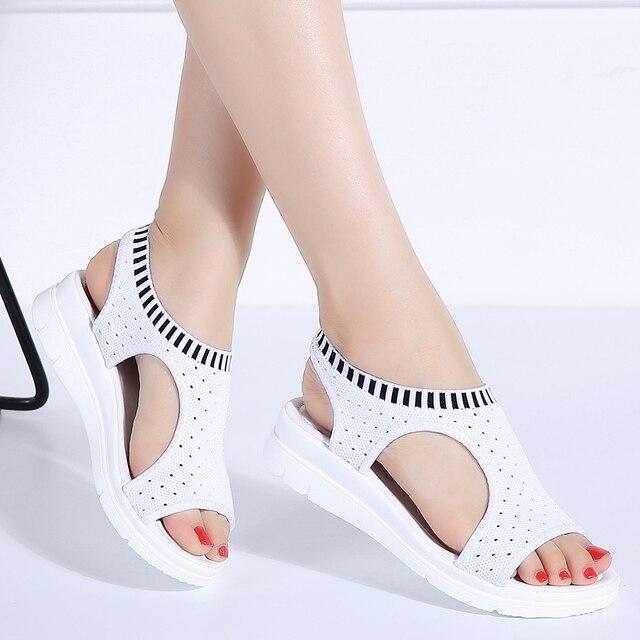 Mulheres Sandálias 2019 Sandálias Da Moda Respirável Conforto de Compras Sandálias Das Senhoras Sapatos de Verão Sandália Sapatos de cunha Preto Branco
