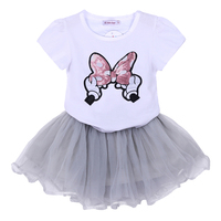 Kids Girls Clothing Set Sequined Bow T-shirt+ Tutu Skirt Kids Sets For Girls Summer Children Clothing