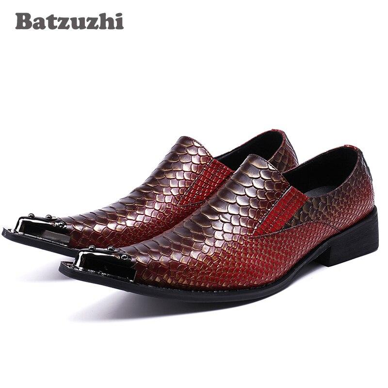 Batzuzhi Big Tamanho 38-46! Sapatas Dos Homens de moda Apontou Toe de Couro Genuíno Sapatas De Vestido Dos Homens Padrão de Peixe de Couro de Negócios, partido