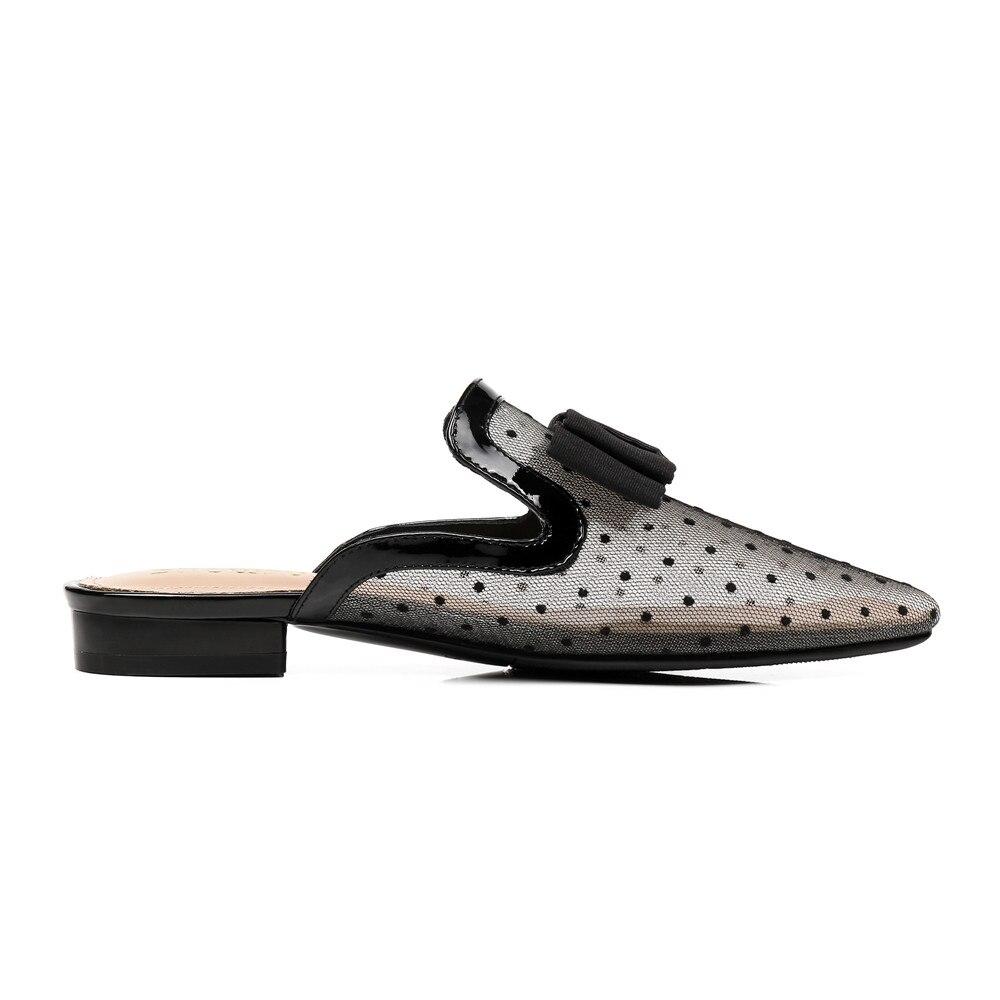 Taille D'été Grande Asumer Talons Chaussures L'intérieur À Occasionnels Bas Noir 43 Femmes De 33 Cuir Pointu Sandales Mules En Femme Bout Nouvelle 2018 Mode Ewq4wRA