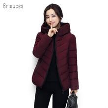 Brieuces Winter Jacket Women Cotton Short 2018 New Girls Padded Hooded Warm Parkas Coat Plus Size 4XL