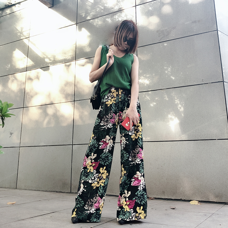 new chiffon thin section printed trousers   Pants   women loose   wide     leg     pants   female summer straight   pants   high waist   pants   women