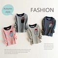 2016 new striped children t shirts autumn cotton long sleeve kids boy clothes Cat-scratch fish pattern girl t shirt baby clothes