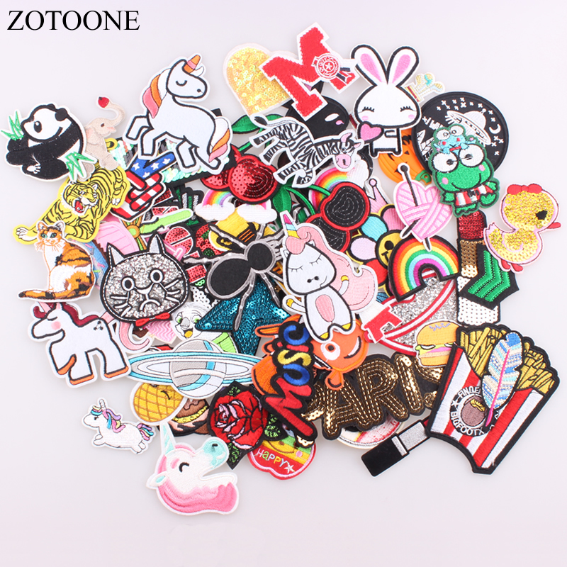 ZOTOONE 30pcs/lot Random Fashion <font><b>Patches</b></font> For Women Lovely Girls <font><b>Kids</b></font> <font><b>Iron</b></font> <font><b>On</b></font> <font><b>Patch</b></font> For Clothing Applique Sticker DIY Accessory E image