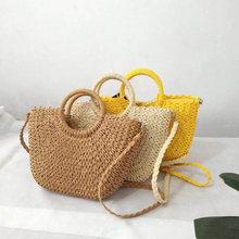 New square round multi-style straw bag handbag female summer rattan bag hand-woven beach circle bohemian handbag new fashion