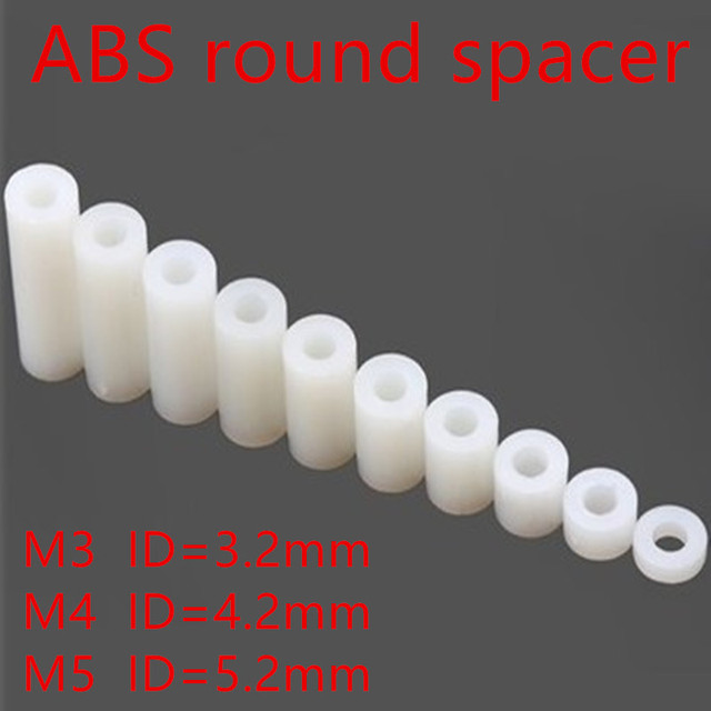 50pcs M3 M4 M5 White Nylon ABS Non-Threaded Spacer Round Hollow Standoff Washer ID 3mm4mm 5mm PCB Board Screw Bolt