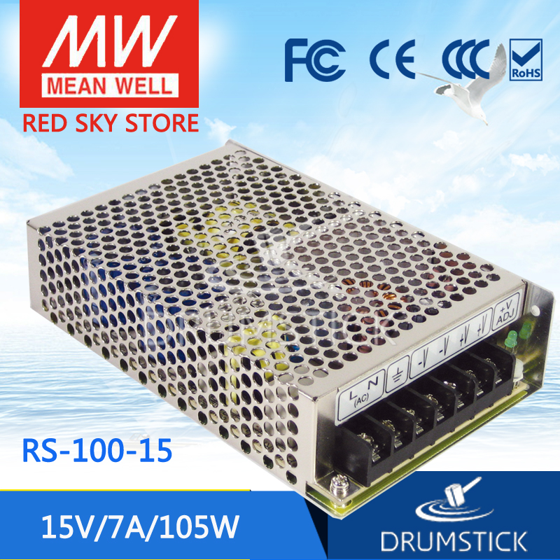 Genuine MEAN WELL RS-100-15 15V 7A meanwell RS-100 15V 105W Single Output Switching Power Supply best selling mean well rs 35 15 15v 2 4a meanwell rs 35 15v 36w single output switching power supply