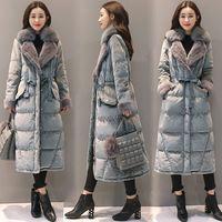 2018 Winter Women White Duck Down Jacket Suit Collar Fox Fur Collar Gold Velvet Thick Coat Female Slim Warm Long Outwear O815