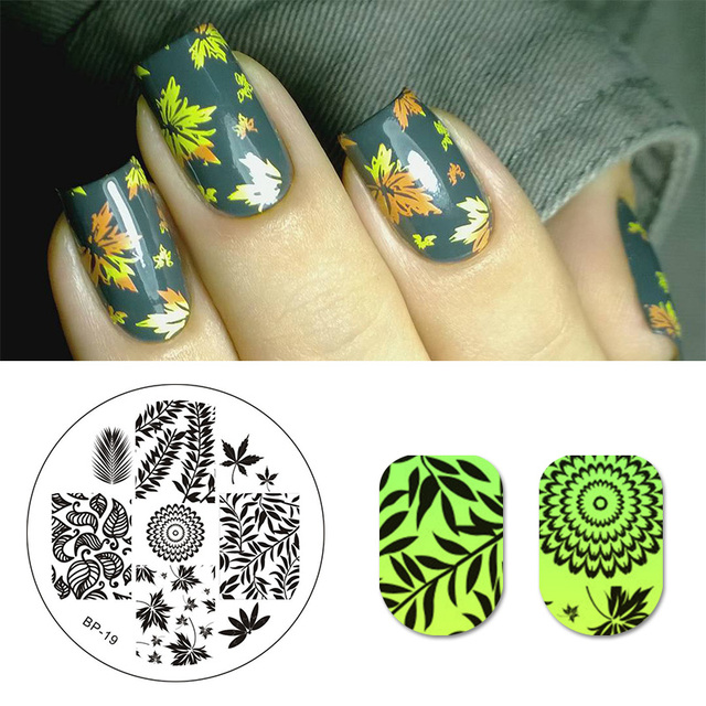 BORN PRETTY Leaves Theme Pattern Nail Art Stamp Template Image ...